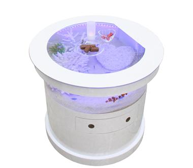 バーズアイ 水槽 テーブル ラウンド ホワイト BEA-ROU-0707-W